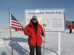 At the actually south pole