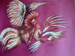 Cock Fighting - pastels