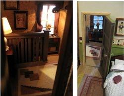 Through two of the bedroom doorways