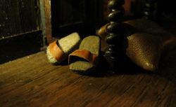 Balsa shaped into house clogs