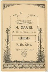 H. Davis, photographer, of Cadiz, OH
