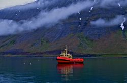 Tugboat in Bay by Elaine Allen (AW)