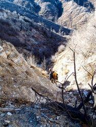 Wade descending toward the canyon