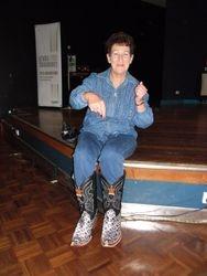 Beryl wearing Ian's boots