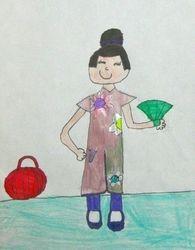 """Joyce Wu, age 6, """"Girl Wearing a Qipao"""""""