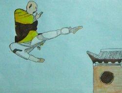 "Eric Li, age 9, ""Monk Practicing Kung Fu"""