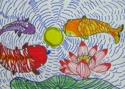 """Audrey Wu, age 8, """"Chinese Fish Art"""""""