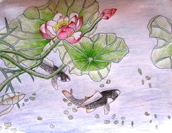 """Claire Wang, age 10, """"Fish Pond"""""""