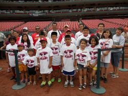 The 'Beltran's Buddies' visiting the amazing Cardinals field at Bush Stadium!