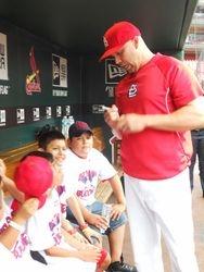 Carlos Beltran talking to the Kids!
