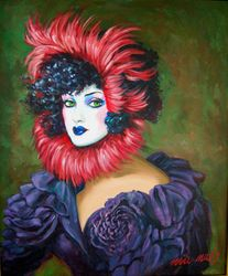 Theatrical portrait with red feathers