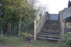Field side showing the new fence and anti-slip on the steps