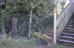Close up of the new fence stopping trespassers