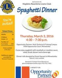 2016 Opportunity Partners Spaghetti Dinner Flier