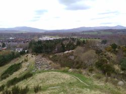 Kemnay with Bennachie in background