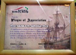 Plake para ki Prof. Danilo M. Gerona, Ph.D.