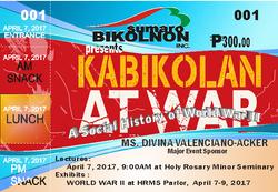 """Tiket para sa Lekturang """"Kabikolan at War"""""""