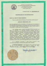SEC Certificate of Registration