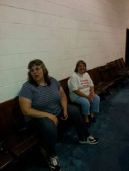 Julie & Kim in the school gym on the first night.