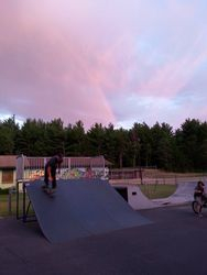 Pastor Dan gets a little skate time (under a rainbow even) at the end of day 3.