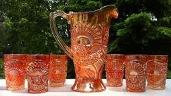 Rising Sun Juice Set - U.S. Glass Company ( possibly Cristalerias Piccardo, Argentina)