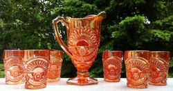 Rising Sun Water Set - U.S. Glass Company (possibly Cristalerias Piccardo, Argentina