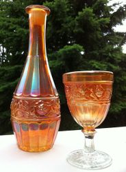Band of Roses decanter & goblet - Cristalerias Piccardo - Argentina