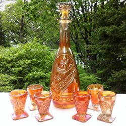 Daisy & Scroll Wine Set - possibly South American