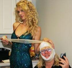 Taylor bandaging up her mom