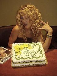 Taylor with a birthday cake