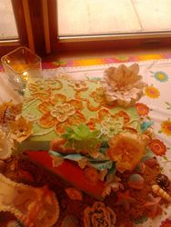 embroidered buttercream shoebox -tropical