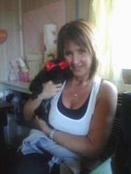 One year old prissy black poodle and new Mom