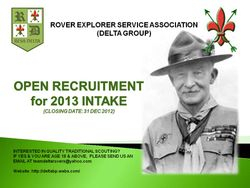 Open Recruitment for 2013 Intake