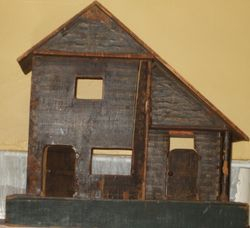 Old Litho over wood Log Cabin to restore