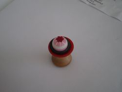 Blancmange on cotton reel table