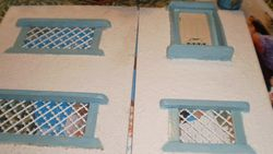 I painted the windows in Sea Blue Acrylic but they need another coat.  Tomorrow's project then1