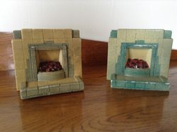 Two Art Deco plaster fireplaces