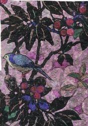 Embossed Victorian bird paper