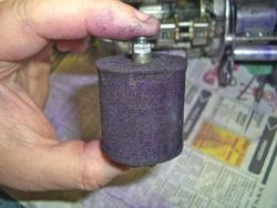 Inside of Plessey Ticket Machine (Ink roller)