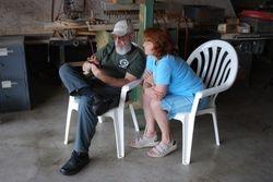 Chip Davis explains Google Calendar to Sandy Dukeman