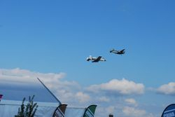 A-10 and P-38 Glacier Girl in formation