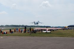 The C-5 departed after a short T/O roll