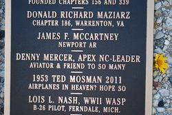 Dwight Frye organized this placque memorializing our dear friend, Denny Mercer, gone West this year....