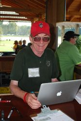 Chris McClure volunteered in the registration pagoda.