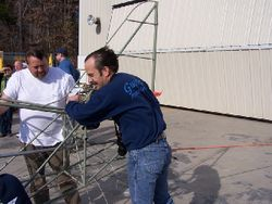 Jim Cronin and Kent Misegades test the power of the Skycoupe's 125 HP Lycoming O-290-D