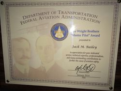 FAA Wright Bros Master Pilot Award