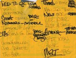 1986-02-24 Set list, U. of Notre Dame
