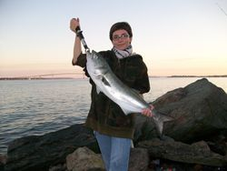 Krysta Schenck with a 10.20 lbs. bluefish