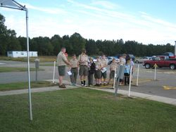 Scout Troop lining up for registration