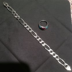 Mens Bracelet and silver ring